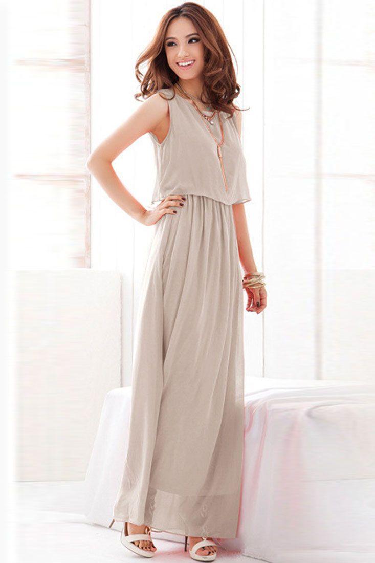 4a83f19d10c Summer clothes · Gray Overlay Sleeveless Chiffon Maxi Dress