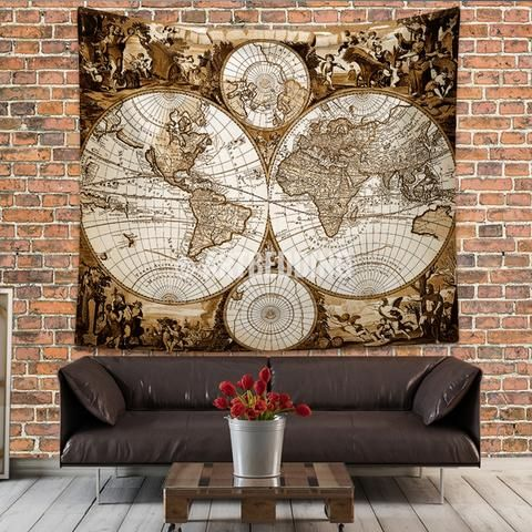 Antique World Map Tapestry.Antique World Map Wall Tapestry Ancient World Map Wall Hanging
