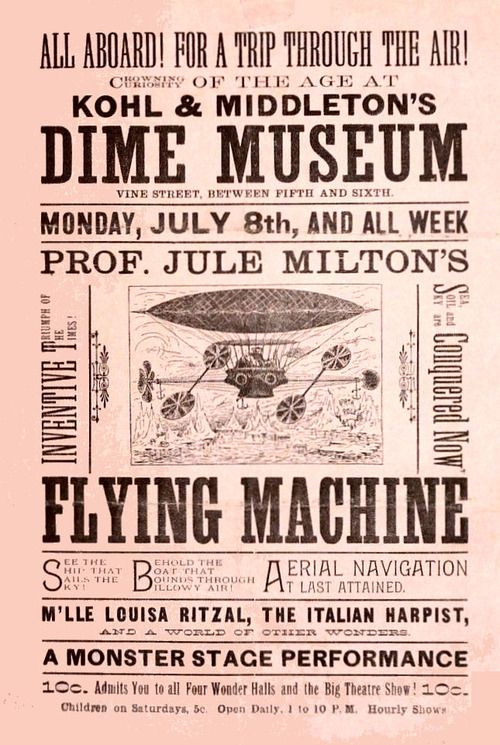 Kohl Middletons Vine Street Dime Museum And Palace Theater Broadbill For An Amu Ts Gaff Flying Machine