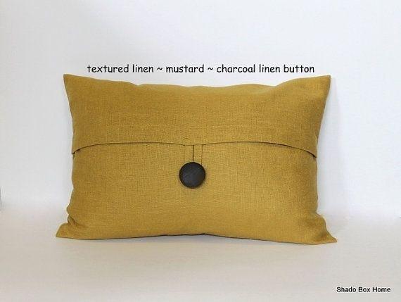 Textured Linen Mustard Button Lumbar Pillow Cover 12x18 Etsy Decorative Sofa Throws Lumbar Pillow Cover Pillows
