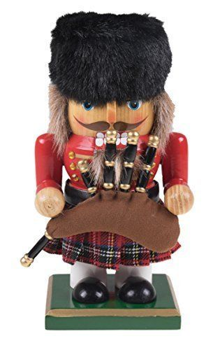 """Wooden Chubby Scottish Nutcracker with Bagpipes and Kilt - 7"""" Tall #NotApplicable"""