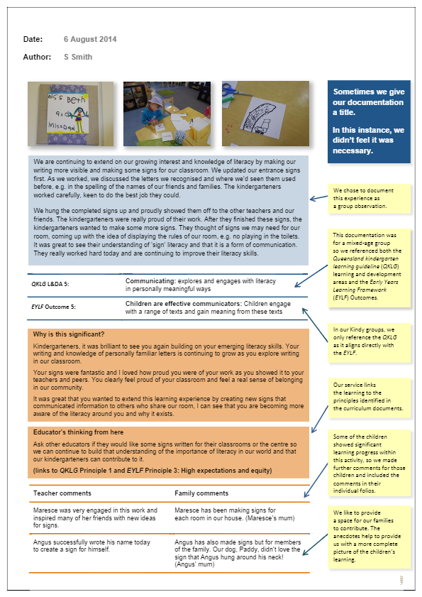 Observation annotated making signs queensland for Lesson plan template qld