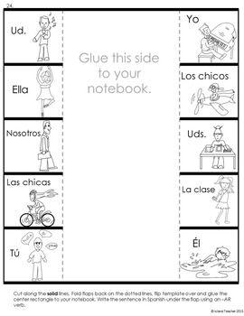 Spanish Interactive Notebook AR Verbs | Para la clase