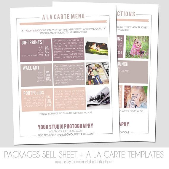 Instant download packages sell sheet a la carte pricing template photography marketing Interior design welcome packet