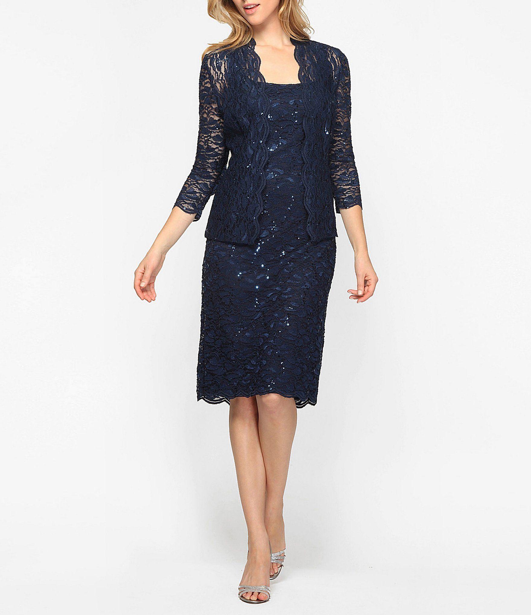 6eaedc29c67 Alex Evenings Scalloped Lace Midi Jacket Dress  Dillards