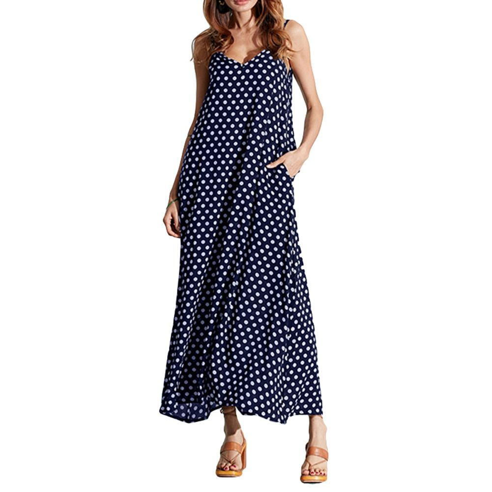 5XL Plus Size Summer Dress 2017 Women Polka Dot Print V Neck Sleeveless Sundress Loose Maxi Long Beach Bohemian Vintage Dress #branddresses