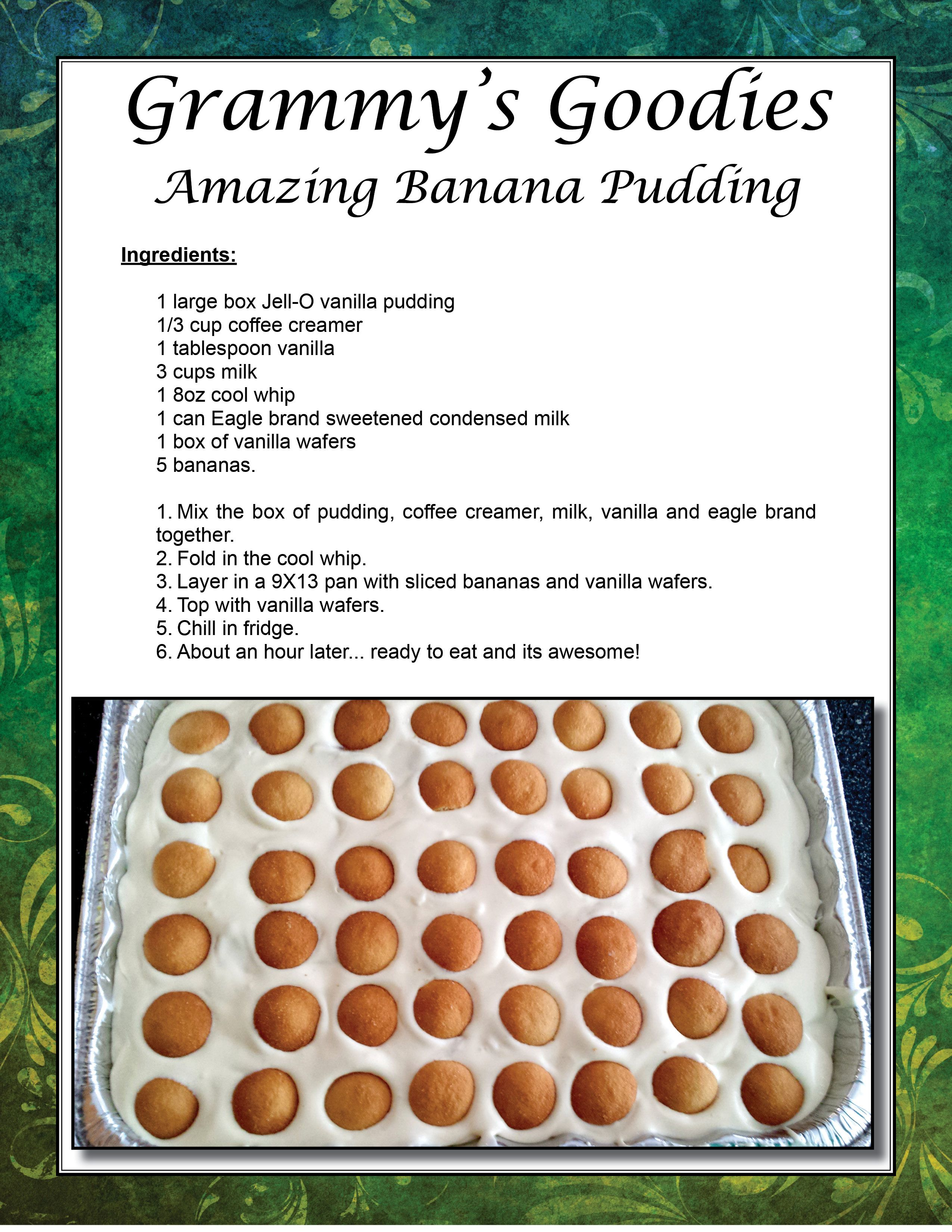This is an amazing banana pudding recipe my mom gave me.  The best I've ever had!