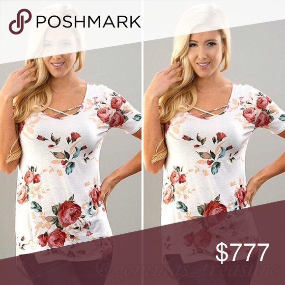 🆒 Floral Front Criss Cross Top Seriously one of the cutest styles right now! Can't keep them on stock! Made in the USA 🇺🇸 95% Rayon 5% Spandex gives this a nice fit and light stretch. Measurements up on request. Tops Tunics