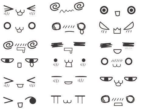 Cute Doodles On Pinterest Doodles Doodle Frames And Doodle Art Kawaii Faces Chibi Eyes Chibi Drawings