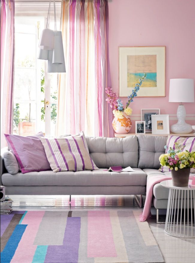 Team Light Filtering Striped Curtains With Shell Pink Walls And A Dove Grey Sofa To Create Curtain Colours Living Rooms Curtains Living Room Living Room Colors #pink #curtains #for #living #room