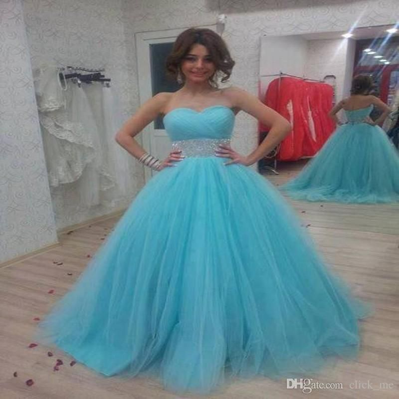 2015 Quinceanera Dresses With Sweetheart Sash Beading Sequins Tulle Tiered Wedding Gowns Sweep Train Zipper Back Pageant Gowns For Teens