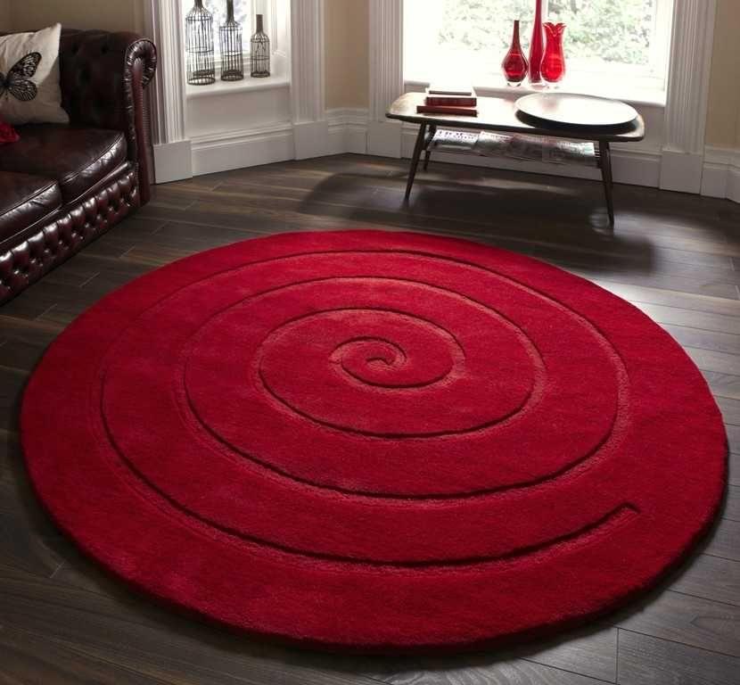 Spiral Red Round Rugs Modern