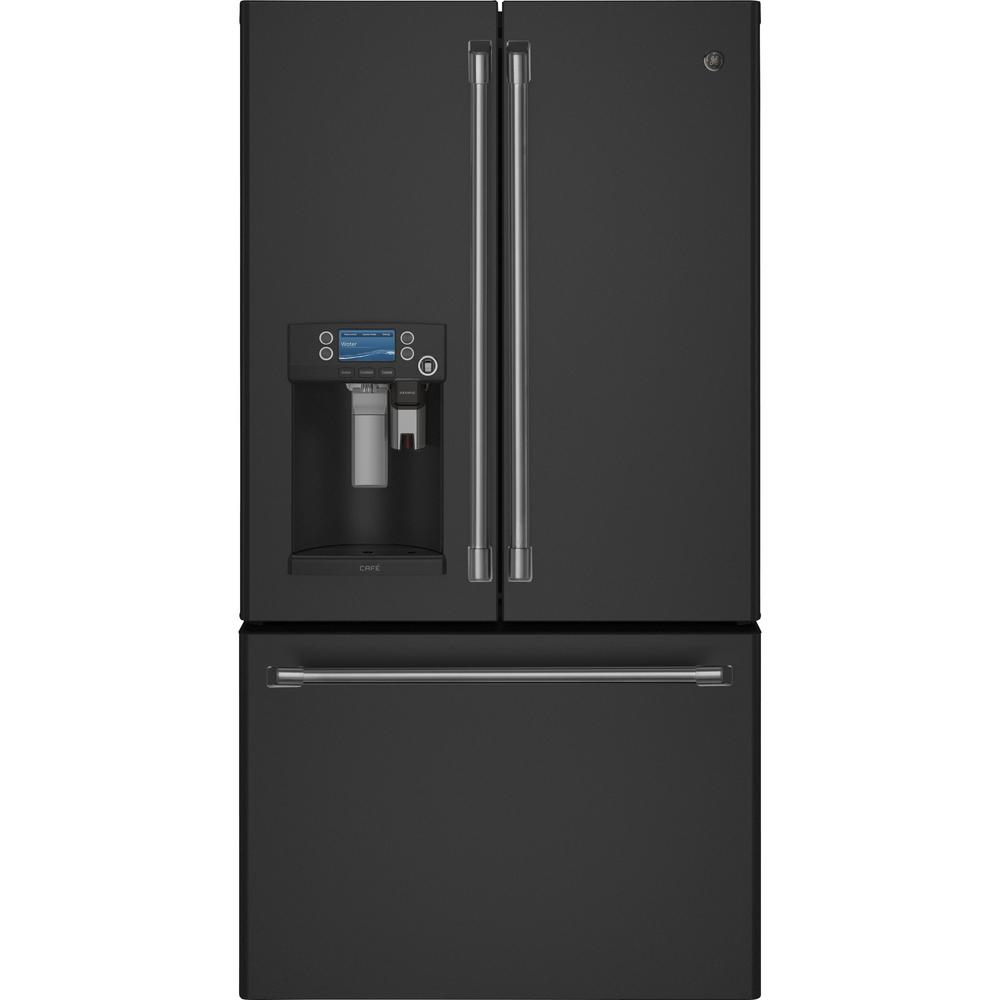 GE Cafe 278 cu ft FrenchDoor Refrigerator in Black Slate