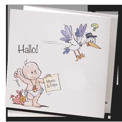 """Witzige Babykarten """"Storch"""" -  auf dem Weg zu Mama und Papa mit dem guten alten """"Klapperstorch""""... Bestellen Sie nur bei uns - Wimmer Druck in Aachen- oder online bei top-kartenlieferant.de"""