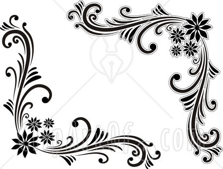 Black Heart And Bows Corner Borders Beautiful And Unique Sun Floyour Frames For Photoshop Editing And Ros Flower Border Black And White Design Corner Borders