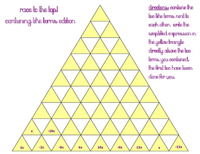 Combining like terms activity   Math   Pinterest   Activities ...