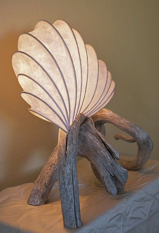 Hand Crafted Oliphant: Lightsculpture (Lamp) with Driftwood base by Lightsculptures by Toko-pa | CustomMade.com