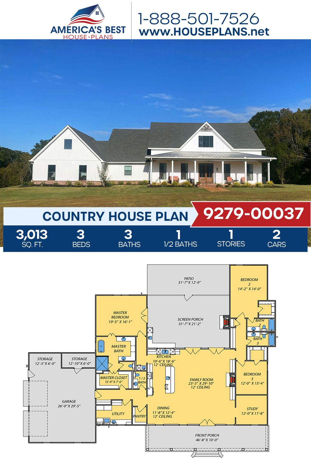 House Plan 9279 00037 Country Plan 3 013 Square Feet 3 Bedrooms 3 5 Bathrooms House Plans Country House Design Country House Plans
