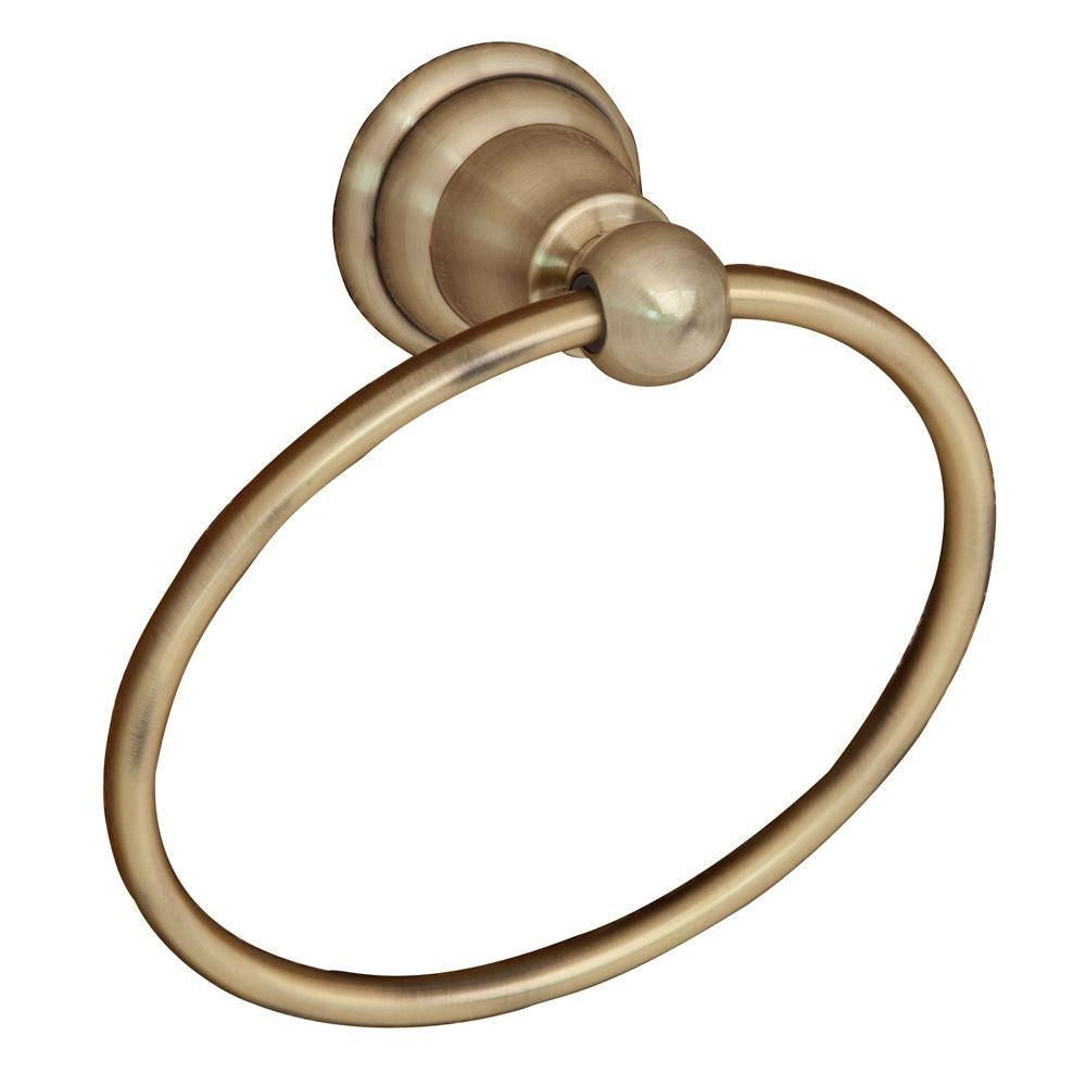 Barclay Products Sherlene Towel Ring In Antique Brass Itr2050 Ab The Home Depot Barclay Products Bath Accessories Towel Rings