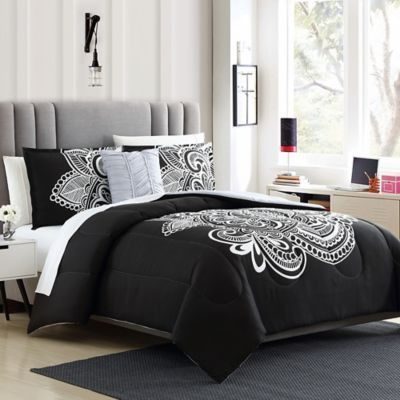 Devin 3 Piece Reversible Twin Twin Xl Comforter Set Black White