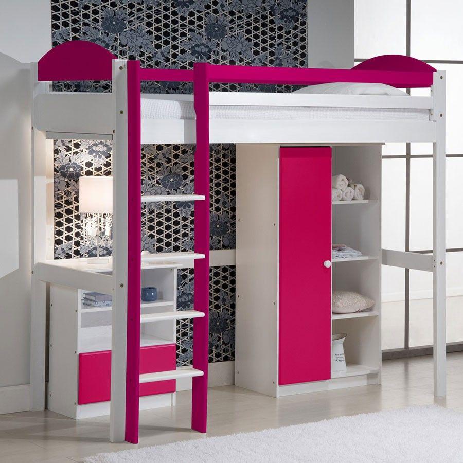 Lit Mezzanine Fille Fuchsia Et Blanc Idee Deco Chambre Enfant