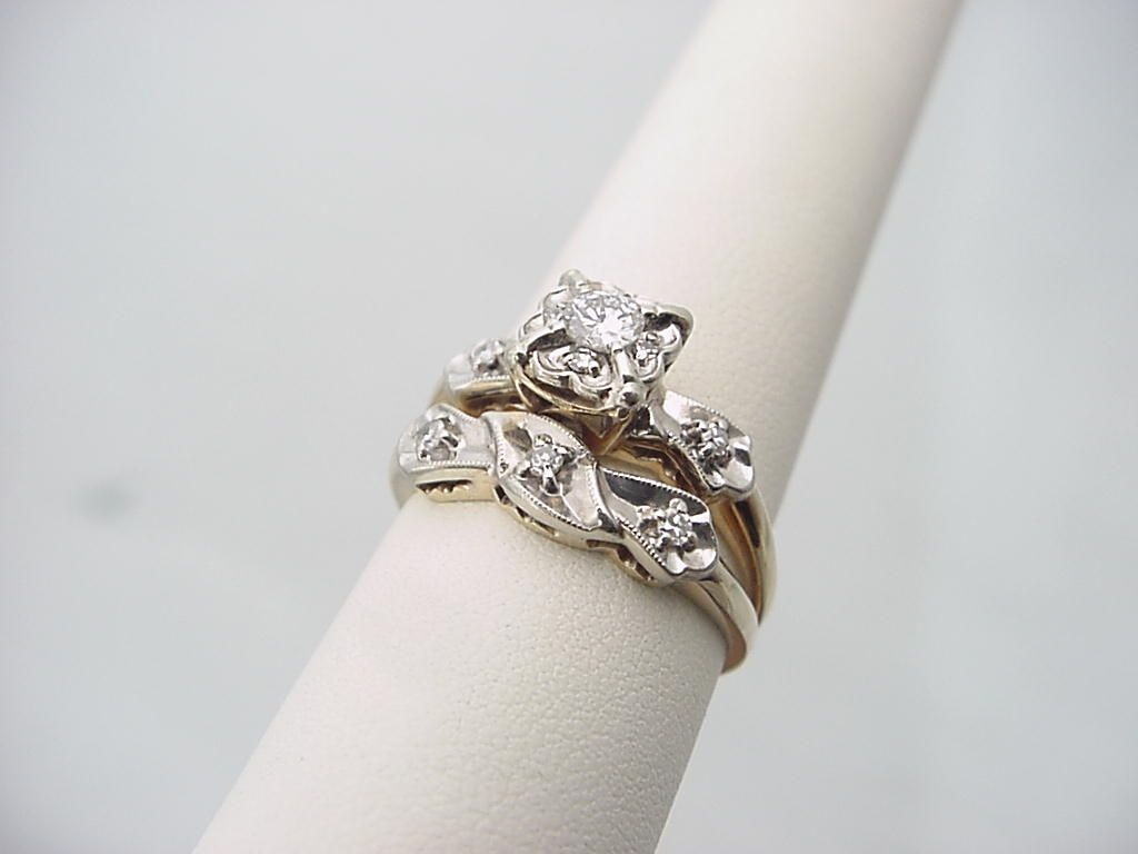vintage jewelry Wedding Ring Set No 6884 Estate Jewelry
