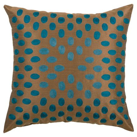 Gold-hued pillow with embroidered peacock blue dots. Product: PillowConstruction Material: Poly slubColor...