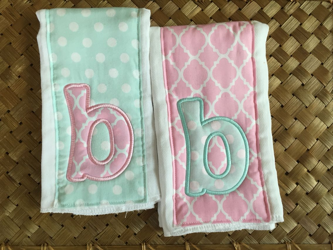 Custom Burp Cloths in Mint & Pink Www.facebook.com/ninidinkdesigns