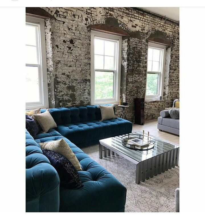 blue color couch with white washed brick looks nice | 426 Exchange ...
