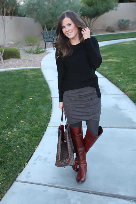 Grey Rouched Skirt, Black Tunic Sweater, Grey Sweater Tights, Brown Over  the Knee