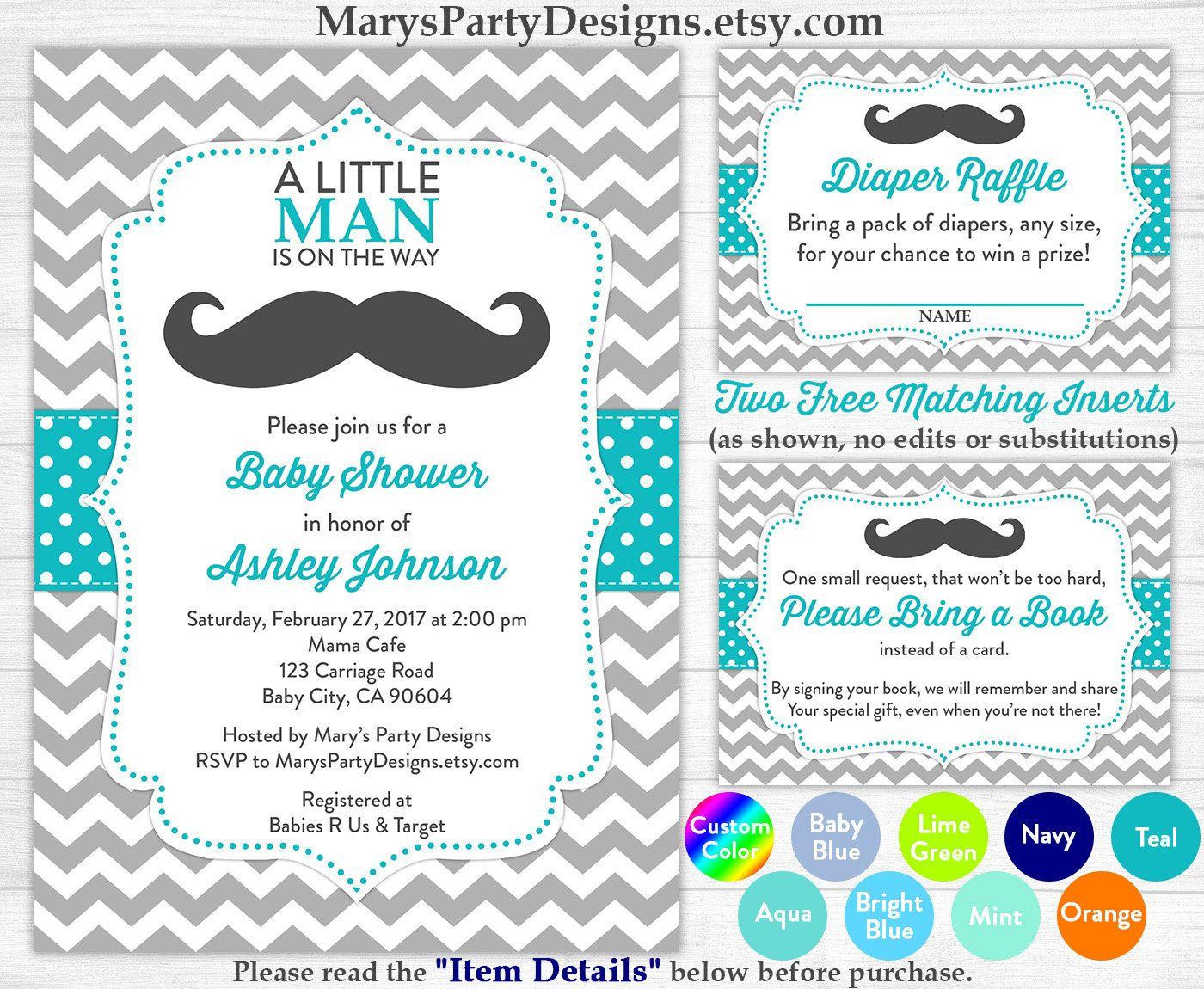 Little Man Baby Shower Invitation Boy Baby Teal Blue Mustache