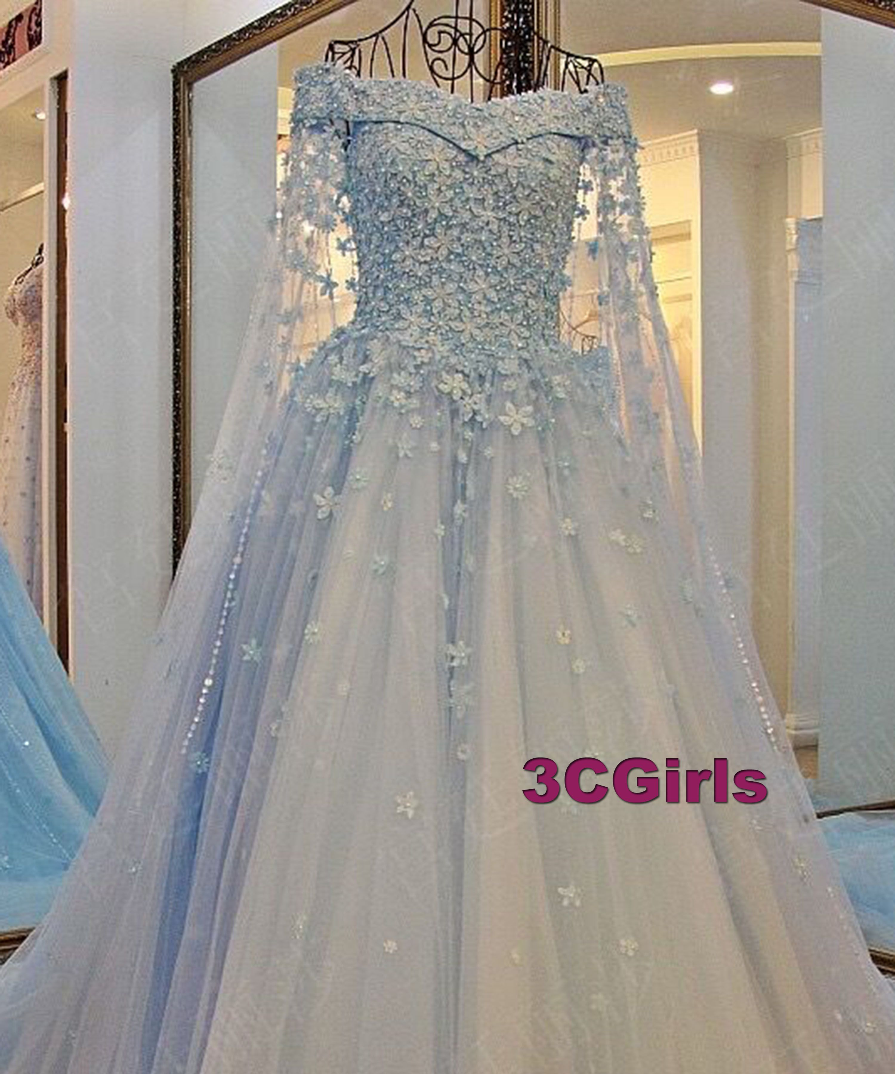 Light blue tulle handmade flower wedding dresses prom pinterest