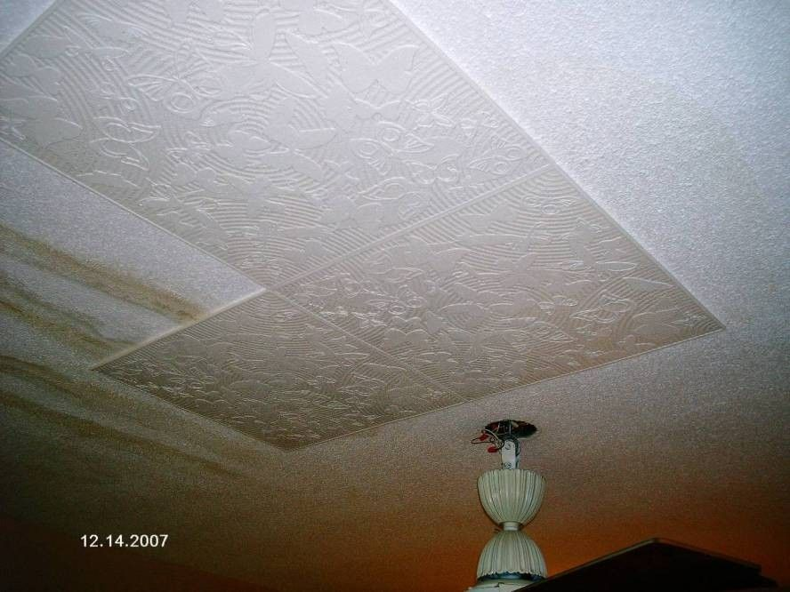 Diy Styrofoam Ceiling Tile Over Water Stained Popcorn Ceiling Styrofoam Ceiling Tiles Remodel Bedroom Ceiling Tile