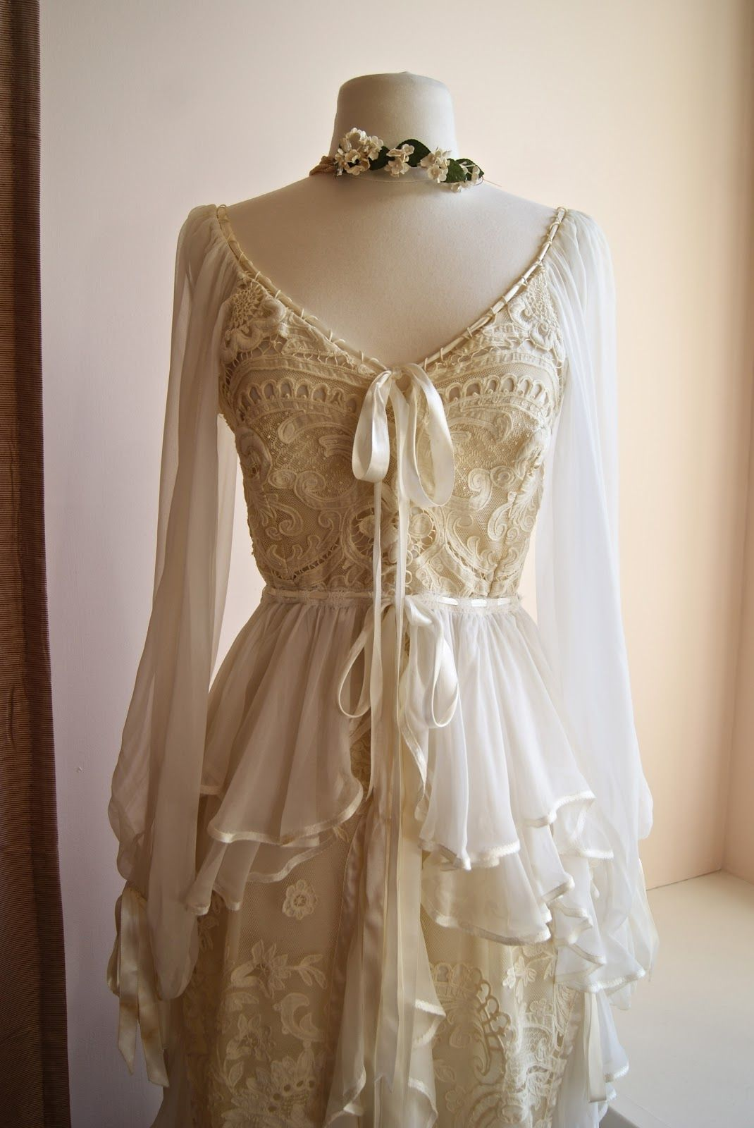 Soft and romantic champagne wedding dresses google search xtabay vintage clothing boutique portland oregon boho dream dress custom made in new orleans with antique lace and silk chiffon ombrellifo Images