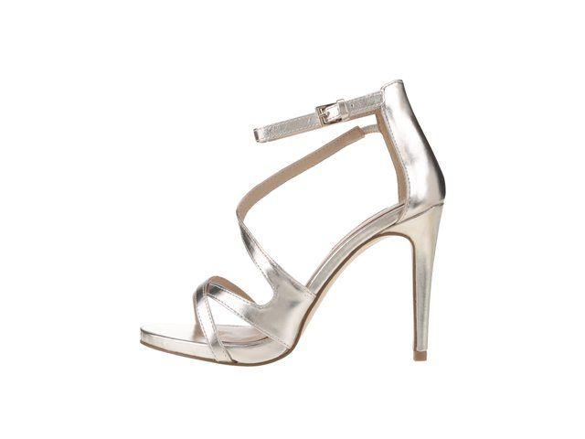 fba887e4053 Metalické sandálky ve zlaté barvě na jehlovém podpatku Miss Selfridge -
