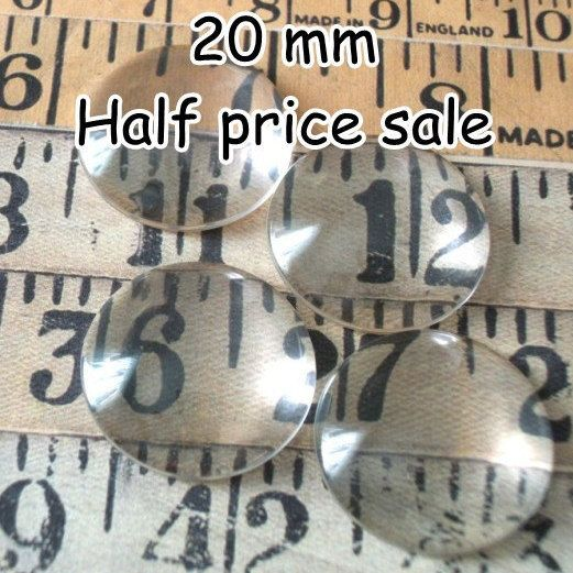 Sale 100 pcs 20mm Clear Domed Glass Cabochons flat by DixieDazzle