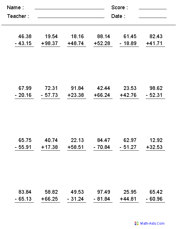 Adding and Subtracting With Decimals Worksheets This worksheet was ...