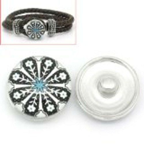 White and Black Flower Design Glass Chunk Charm Button Fits Chunk Bracelet 18mm