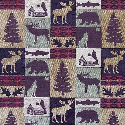 Upholstery Fabric Fairbanks Evergreen Lodge Cabin Rustic Fish Bear Moose Trees