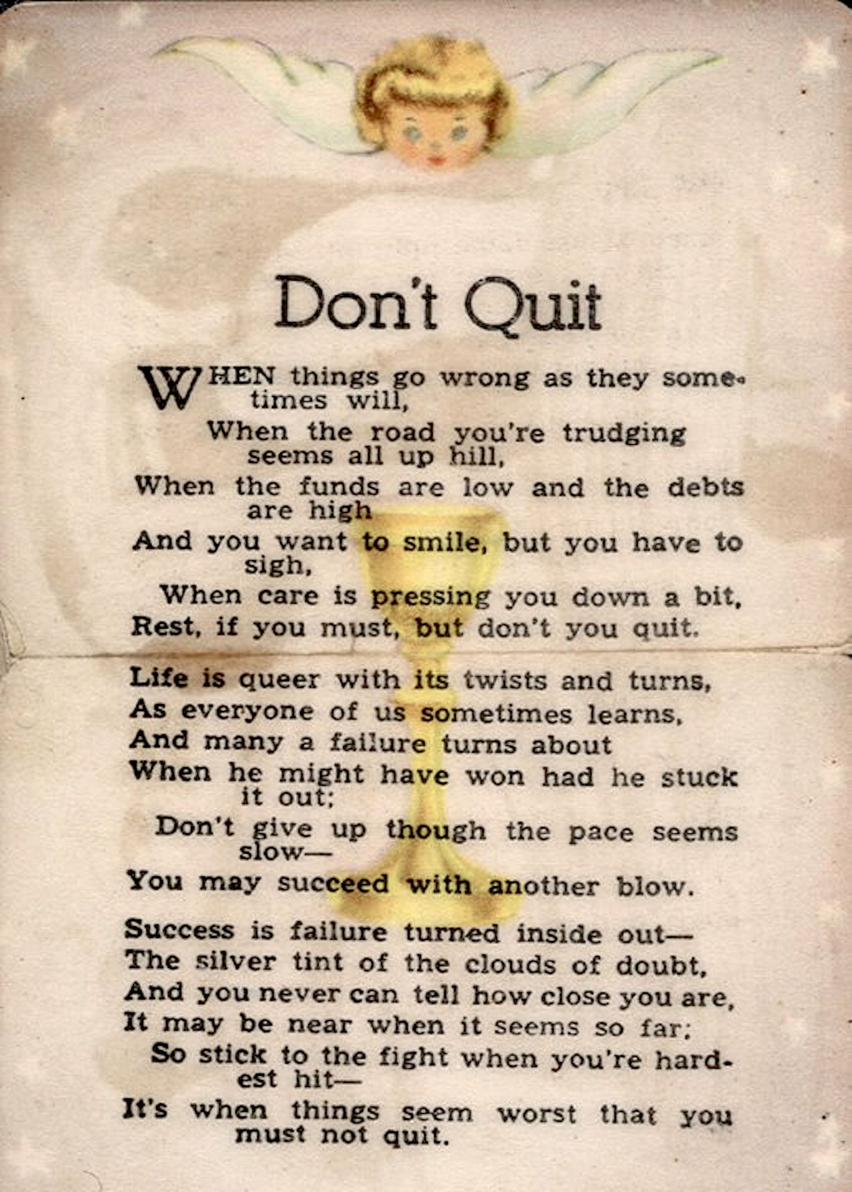 Dont Quit Michael J Bird Drinks Inspirational Quotes Poems