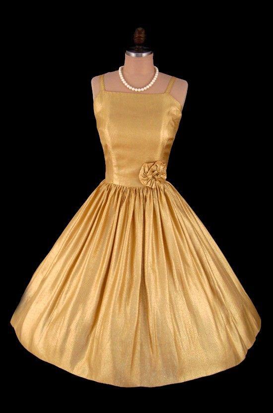 Vintage 1950 S 50 S Metallic Gold Lame Bombshell Cocktail Party Prom Dress S Vintage Dresses Vintage Style Dresses Vintage Gowns