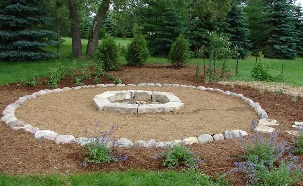 Large Slabs Of Stone Create A Natural Looking Fire Pit Surrounded With Decorative  Stone And Small