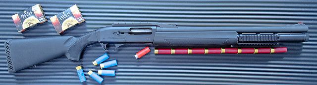 FN SLP 12 ga. It is currently the fastest shooting production shotgun in the world. Easy on the shoulder too.