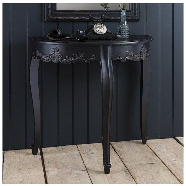 Half Round Console Table maison demi lune console table black ($295) ❤ liked on polyvore