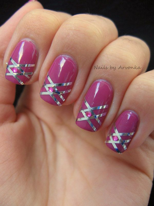 Pink with tape and rhinestones | [ Diana\'s Nail Art, Manicure ...