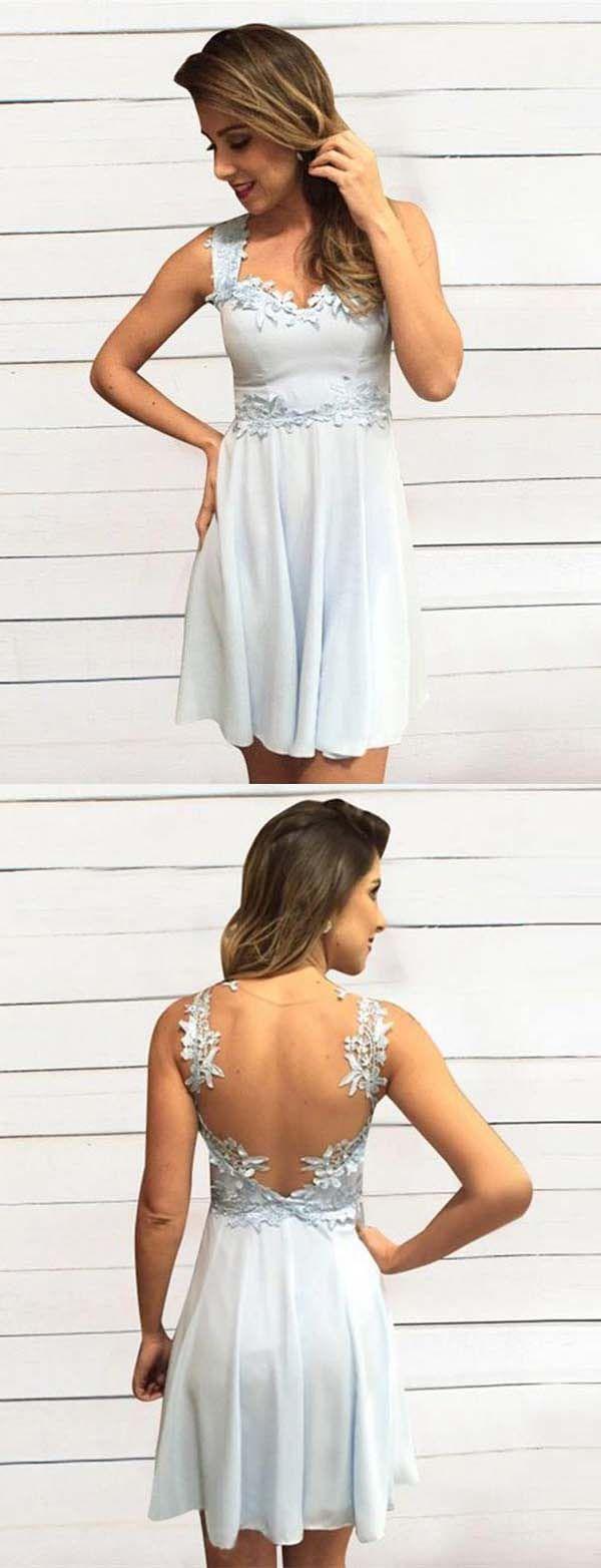 Elegant a line straps illusion back light blue short homecoming