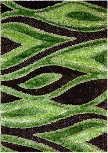 Royal Collection Green Brown Lime Green Contemporary Design Shaggy