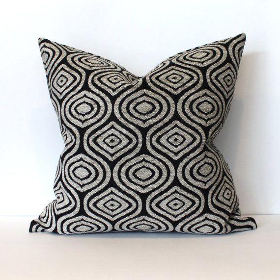 Decorative Black Beige Chenille Geometric Decorative Oblong Accent