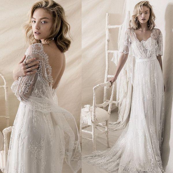 Cheap Lihi Hod 2018 Bohemian Wedding Dresses Half Sleeve Sweetheart ...