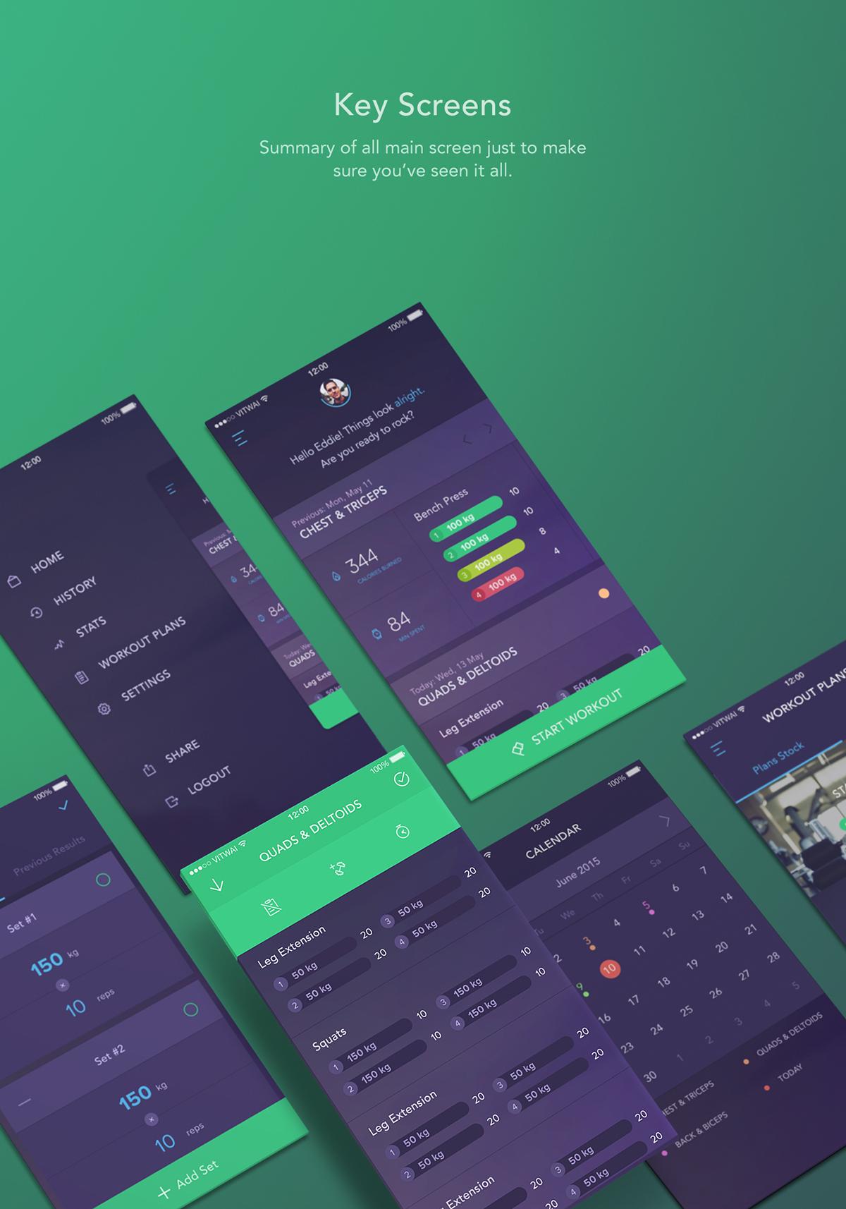 workout book workout tracking app concept on app design served
